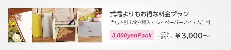 ペーパーアイテムが無料 引き出物パックプラン 3 000円